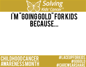 Going Gold For Kids sign
